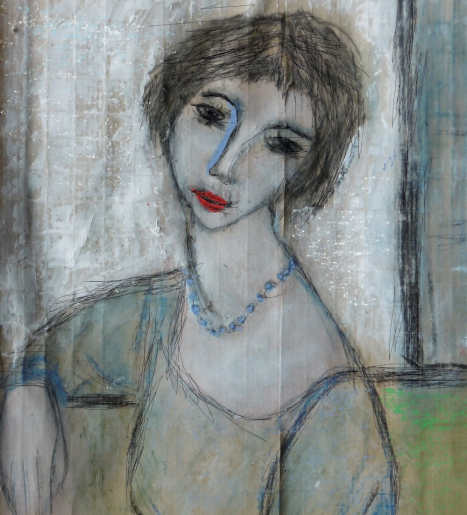 denise <strong>louin</strong> - le collier bleu - art contemporain